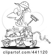 Royalty Free RF Clip Art Illustration Of A Cartoon Black And White Outline Design Of A Happy Borrower Pushing A Wheelbarrow