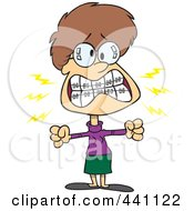 Royalty Free RF Clip Art Illustration Of A Cartoon Mad Woman With Braces by toonaday