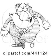 Royalty Free RF Clip Art Illustration Of A Cartoon Black And White Outline Design Of A Furious Boss