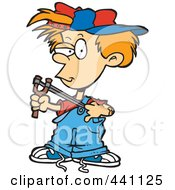 Royalty Free RF Clip Art Illustration Of A Cartoon Boy Using A Slingshot by toonaday