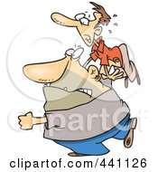 Royalty Free RF Clip Art Illustration Of A Cartoon Bouncer Throwing A Man