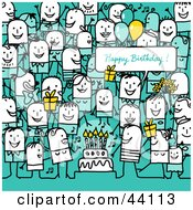 Clipart Illustration Of A Crowd Of Stick People At A Birthday Party