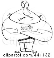 Royalty Free RF Clip Art Illustration Of A Cartoon Black And White Outline Design Of A Strong Bouncer