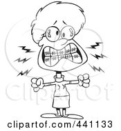 Royalty Free RF Clip Art Illustration Of A Cartoon Black And White Outline Design Of A Mad Woman With Braces by toonaday