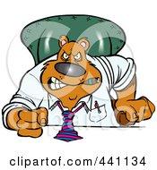 Royalty Free RF Clip Art Illustration Of A Cartoon Intimidating Business Bear Pounding His Desk