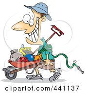 Royalty Free RF Clip Art Illustration Of A Cartoon Happy Borrower Pushing A Wheelbarrow