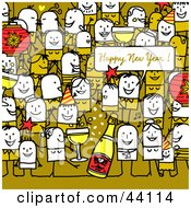 Clipart Illustration Of A Crowd Of Stick People At A New Years Eve Party
