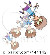 Royalty Free RF Clip Art Illustration Of A Cartoon Bouncing Woman