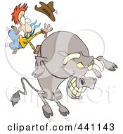 Royalty Free RF Clip Art Illustration Of A Cartoon Cowboy Riding A Giant Bull