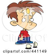 Royalty Free RF Clip Art Illustration Of A Cartoon Boy With An Egg On His Face by toonaday