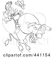 Cartoon Black And White Outline Design Of A Cowboy Riding A Giant Bull