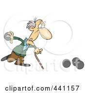 Royalty Free RF Clip Art Illustration Of A Cartoon Old Man Playing Bowls by toonaday
