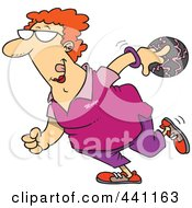Royalty Free RF Clip Art Illustration Of A Cartoon Woman Bowling by toonaday