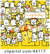 Clipart Illustration Of A Crowd Of Stick People At A Beach Party by NL shop