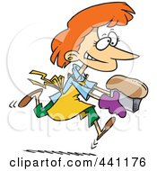 Royalty Free RF Clip Art Illustration Of A Cartoon Female Baker With Fresh Bread by toonaday