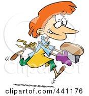 Royalty Free RF Clip Art Illustration Of A Cartoon Female Baker With Fresh Bread