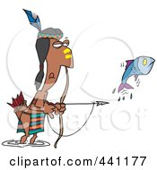 Cartoon Native American Man Bow Fishing