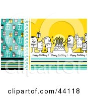 Clipart Illustration Of A Blue And Yellow Happy Birthday Stick People Greeting With A Party Gifts And Cake