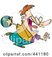 Royalty Free RF Clip Art Illustration Of A Cartoon Man Bowling by toonaday