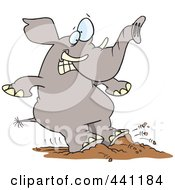 Royalty Free RF Clip Art Illustration Of A Cartoon Elephant Braking With His Feet