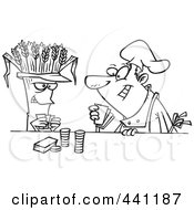 Royalty Free RF Clip Art Illustration Of A Cartoon Black And White Outline Design Of A Baker Playing Poker With Wheat by toonaday