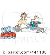 Royalty Free RF Clip Art Illustration Of A Cartoon Man Stuck To His Bowling Ball by toonaday