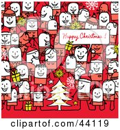 Clipart Illustration Of A Crowd Of Stick People At A Christmas Party by NL shop