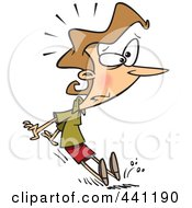 Royalty Free RF Clip Art Illustration Of A Cartoon Businesswoman Braking With Her Feet