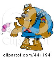 Cartoon Bratty Bear Plaing With A Yo Yo