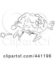 Royalty Free RF Clip Art Illustration Of A Cartoon Black And White Outline Design Of A Running Brain