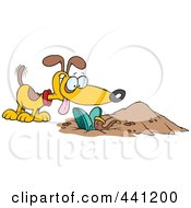 Royalty Free RF Clip Art Illustration Of A Cartoon Dog By A Buried Person