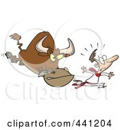 Royalty Free RF Clip Art Illustration Of A Cartoon Man Running From A Bull by toonaday
