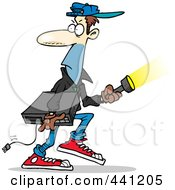Royalty Free RF Clip Art Illustration Of A Cartoon Burglar Carrying An Electronic Device
