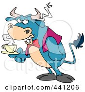 Royalty Free RF Clip Art Illustration Of A Cartoon Bull Waiter Serving Coffee by toonaday