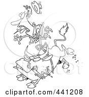 Royalty Free RF Clip Art Illustration Of A Cartoon Black And White Outline Design Of A Rodeo Bull And Cowboy