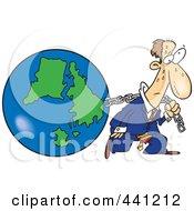 Royalty Free RF Clip Art Illustration Of A Cartoon Businessman Pulling Earth