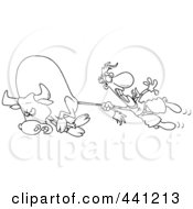 Royalty Free RF Clip Art Illustration Of A Cartoon Black And White Outline Design Of A Rodeo Cowboy Holding Onto A Bulls Tail