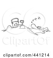 Royalty Free RF Clip Art Illustration Of A Cartoon Black And White Outline Design Of A Snoozing Man Buried In The Sand On A Beach