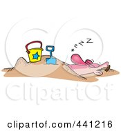 Royalty Free RF Clip Art Illustration Of A Cartoon Snoozing Man Buried In The Sand On A Beach