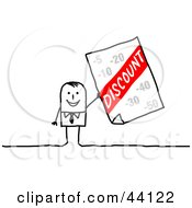 Clipart Illustration Of A Stick Businessman Holding Up A Discount Advertisement