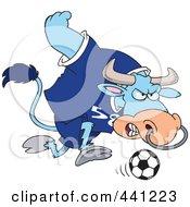 Royalty Free RF Clip Art Illustration Of A Cartoon Soccer Bull