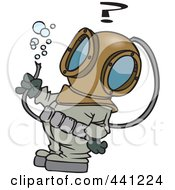 Royalty Free RF Clip Art Illustration Of A Cartoon Diver Looking At A Hose With Bubbles