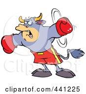 Cartoon Boxing Bull