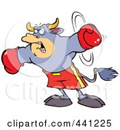 Royalty Free RF Clip Art Illustration Of A Cartoon Boxing Bull by Ron Leishman