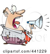 Royalty Free RF Clip Art Illustration Of A Cartoon Businessman Screaming Through A Bullhorn by toonaday
