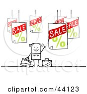 Clipart Illustration Of A Happy Stick Woman On A Shopping Spree by NL shop