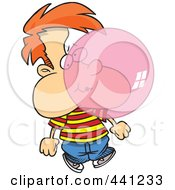 Royalty Free RF Clip Art Illustration Of A Cartoon Boy Blowing Bubble Gum by toonaday