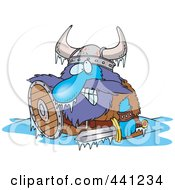 Royalty Free RF Clip Art Illustration Of A Cartoon Frozen Viking by toonaday