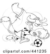Royalty Free RF Clip Art Illustration Of A Cartoon Black And White Outline Design Of A Soccer Bull