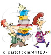 Cartoon Female Shopper With A Man Carrying Her Boxes